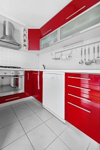 Red and white gloss kitchen