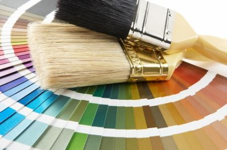 Paint brushes and colour chart